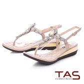 ★2018春夏新品★TAS 華麗水鑽夾腳金屬小坡跟涼鞋-氣質灰
