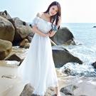 雪紡洋裝 女神白色海邊度假沙灘裙 裹胸波...