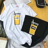 日繫男士原宿港風情侶裝韓版短袖白色T恤寬鬆個性簡約上衣體恤潮     芊惠衣屋