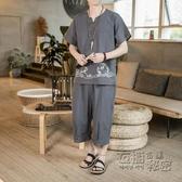 亞麻短袖t恤男中國風印花半袖潮流寬鬆體恤棉麻兩件套夏季套裝男 衣櫥秘密