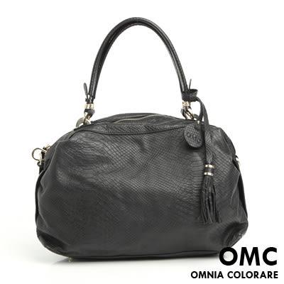 OMC - 繽紛系全牛皮流蘇手提肩背包 ─ 時尚黑