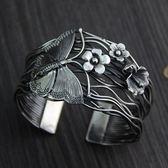 純銀手環(泰銀)-蝴蝶花朵生日聖誕節禮物女手鐲73gg83[時尚巴黎]