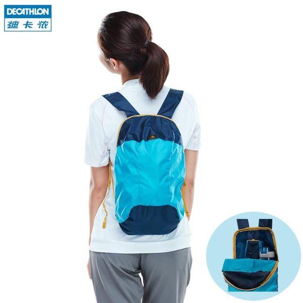 後背包 迪卡儂雙肩女男新款戶外休閒迷你雙肩包可折疊皮膚包10L FOR1 芭蕾朵朵