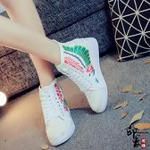 復古繡花布藝單鞋女布鞋高幫系帶帆布鞋休閒運動板鞋子 快速出貨