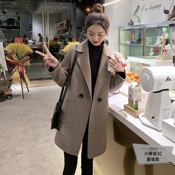 秋冬季毛呢外套女中長款韓版短款咖色呢子大衣【小檸檬3C數碼館】