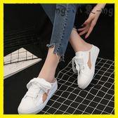 外穿拖鞋-無后跟懶人鞋韓版包頭半拖鞋拖鞋外穿絲帶小白鞋