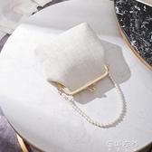 貝殼包女2020年新款珍珠夾子包單肩斜跨手提古風包包貝(快速出貨)