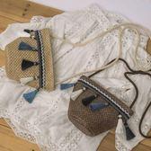 草編包民族風編織個性百搭斜背包女包側背復古文藝迷你 貝芙莉女鞋