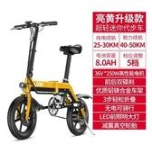 電動自行車折疊小型助力鋰電電瓶車代駕王成人代步車女超輕便攜寶LX 7月熱賣
