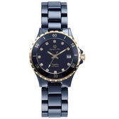 Olympia Star 奧林比亞之星 時尚陶瓷腕錶-黑X金/38mm