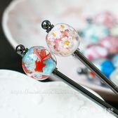 日本進口手工琉璃珠發簪飾品生日新年禮物櫻花金魚火烈鳥