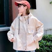 夹克外套 ulzzang工裝外套女春秋韓版學生bf原宿風寬鬆百搭連帽夾克棒球服