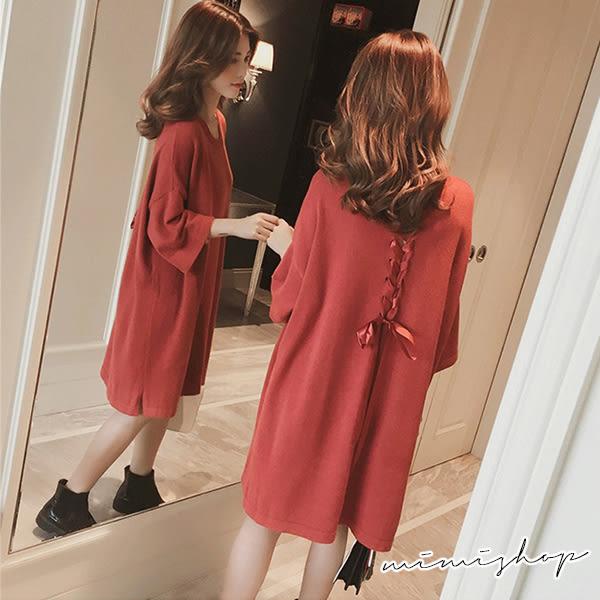 孕婦裝 MIMI別走【P52928】簡約設計感 針織後綁帶連衣裙 孕婦裙