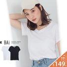竹節棉T恤 純色素面款V領上衣-BAi白媽媽【195022】