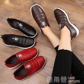 老北京布鞋女鞋冬季加絨棉鞋平底休閒中老年人防水保暖防滑媽媽鞋 鹿角巷