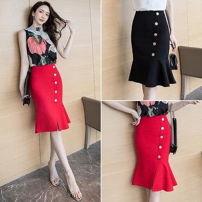 包臀半身裙S-3XL1073#韓版半身裙修身高腰開叉中長裙一排扣魚尾包臀裙D734快時尚