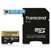 【免運費】 創見 Transcend microSDXC 64GB 633X U3 V30 記憶卡(95MB/s,TS64GUSDU3M,5年保固) 64g U3M