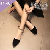 大尺碼女鞋-凱莉密碼-時尚潮品金邊瑪莉珍中空尖頭平底鞋1cm(41-46)【BDB1】黑色