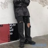 破洞褲 秋冬新款正韓ins乞丐破洞牛仔褲寬鬆直筒休閒褲子男女潮 HD