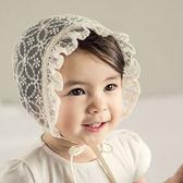 帽子 寶寶 新生兒 綁帶 蕾絲 公主帽 宮廷帽