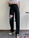 熱賣牛仔褲 破洞黑色直筒高腰牛仔褲2021年新款春秋季寬鬆顯瘦闊腿長褲子女裝 coco