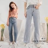 長褲 Space Picnic|雙釦下擺不收邊單寧牛仔直筒寬褲(現貨)【C20012068】