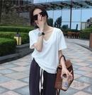 四季百搭B備純棉白色v領短袖T恤女夏季韓版寬鬆顯瘦純色半袖上衣 魔法鞋櫃