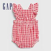 Gap 嬰兒 活力格紋方領包屁衣 580455-正紅色
