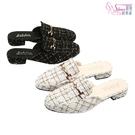 穆勒鞋.時尚格紋休閒穆勒拖鞋.黑/白【鞋鞋俱樂部】【054-K1000】