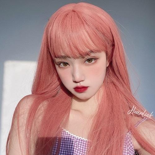 整頂假髮(長髮)-漸層粉橘自然瀏海女假髮2款73xw23[時尚巴黎]