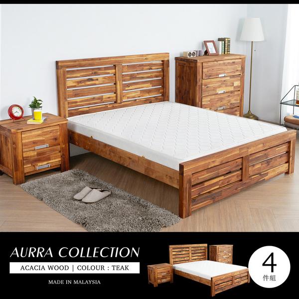 AURRA奧拉鄉村系列實木雙人房間4件組(床架+床頭櫃+四層櫃+床墊)[雙人5×6.2尺]【obis】