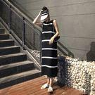 【GZ FC】複古寬鬆中長版條紋圓領針織棉無袖連身長裙連身裙洋裝