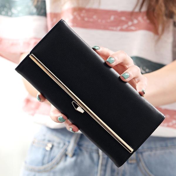 新款長款錢包女招財黃色原創學生時尚日系大容量女韓版手拿包 至簡元素