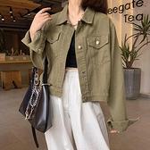 牛仔外套 秋季2021年新款韓版時尚純色牛仔外套學生百搭短款長袖夾克上衣女 韓國時尚週