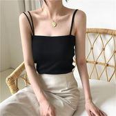 夏季新款韓版簡約百搭針織吊帶背心雙肩帶修身純色打底衫女     芊惠衣屋