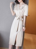 洋裝`醋酸連身裙女高端緞面夏修身顯瘦V領短袖高腰開叉一步裙H456-C胖妞衣櫥