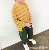 童裝男童條紋長袖T恤兒童棉質打底衫秋季韓版休閒潮上衣 莫妮卡小屋