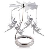 歐沛媞 歐式旋轉燭罩蠟燭台-銀-小魔仙 加贈YANKEE CANDLE 香氛蠟燭49g