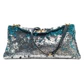 miu miu 繆繆 銀色/藍色亮片斜背包 Sequin Flap Bag 二手名牌 BRAND OFF】