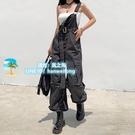 歐美風設計感腰帶束腳工裝褲女寬鬆寬版顯瘦街頭嘻哈背帶褲潮【風之海】