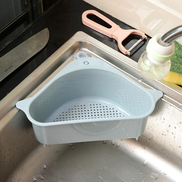 廚房置物架 廚房水槽三角瀝水籃吸盤式洗菜盆過濾水置物架洗碗池抹布收納掛籃 晶彩