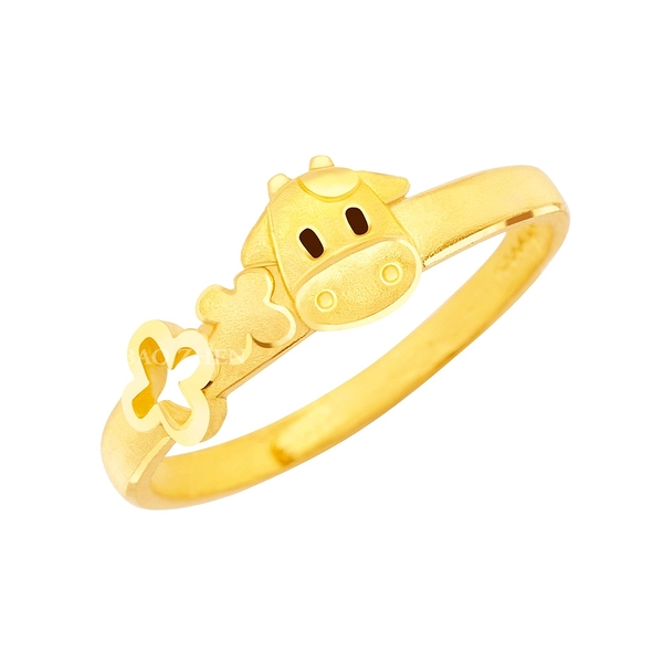 小萌牛-黃金戒指-生肖牛戒指