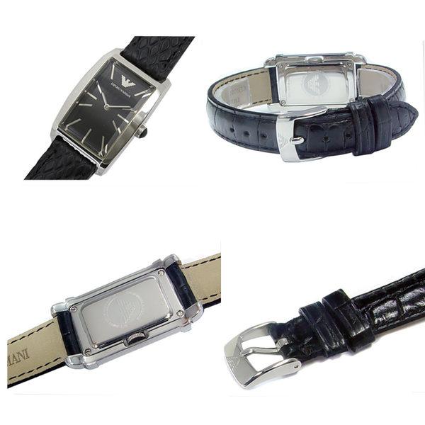 【EMPORIO ARMANI】時尚經典方型蛇紋黑色女錶(AR0728)