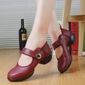 阿樂威夏季廣場跳舞鞋新款女中跟紅色交誼舞蹈鞋軟底成人鏤空真皮