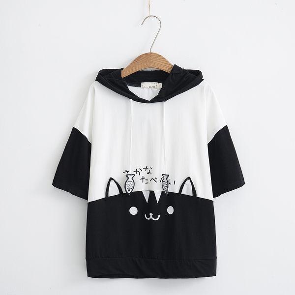 梅梅露*【55182119】貓與魚連帽短袖T恤上衣