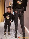 兒童洋裝親子裝母子母女裝時髦老爹高腰牛仔褲網紅哈倫褲長褲【小獅子】