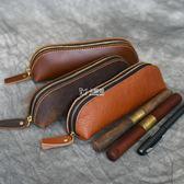 筆袋 手工復古頭層筆套創意禮品筆袋鋼筆皮套小學生男女鉛筆盒 卡菲婭