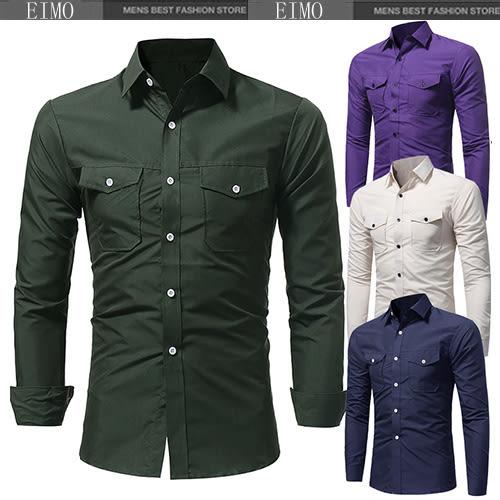 男士素面襯衫 休閑修身長袖襯衫 E3204
