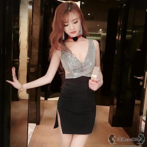 洋裝 酒吧女裝性感低胸V領開叉緊身包臀背心禮服連衣裙 - 歐美韓city精品