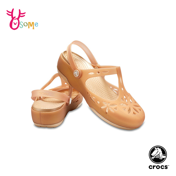 Crocs卡駱馳 洞洞鞋 成人女款 伊莎貝拉 防水休閒鞋 A1733#卡其◆OSOME奧森鞋業